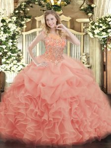 Baby Pink Ball Gowns Beading and Ruffles Quinceanera Dresses Zipper Organza Sleeveless Floor Length