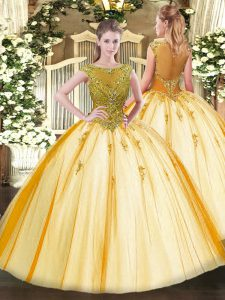 Ball Gowns Quinceanera Gown Gold Scoop Tulle Cap Sleeves Floor Length Lace Up
