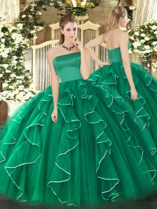 Fancy Strapless Sleeveless Tulle Quinceanera Dresses Ruffles Zipper