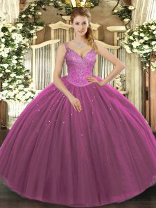 Delicate Tulle Sleeveless Floor Length Quinceanera Dresses and Beading