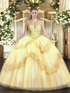 Sleeveless Tulle Floor Length Lace Up 15 Quinceanera Dress in Gold with Appliques and Sequins