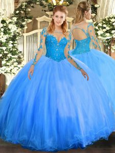 Glorious Lace 15th Birthday Dress Baby Blue Lace Up Long Sleeves Floor Length