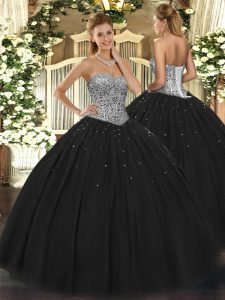 Customized Black Ball Gowns Tulle Sweetheart Sleeveless Beading Floor Length Lace Up Quinceanera Dress