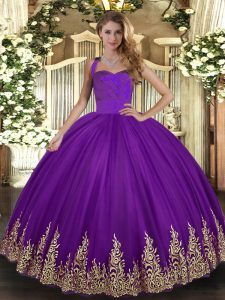 Purple Ball Gowns Halter Top Sleeveless Tulle Floor Length Lace Up Appliques Quinceanera Dresses