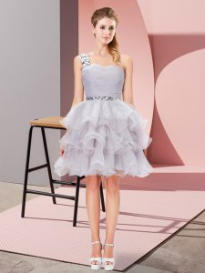 Fantastic Grey Lace Up Homecoming Dress Beading and Ruffled Layers Sleeveless Mini Length