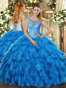 Baby Blue Organza Lace Up Scoop Sleeveless Floor Length Ball Gown Prom Dress Beading and Ruffles