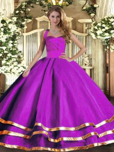 Fashion Purple Ball Gowns Halter Top Sleeveless Tulle Floor Length Lace Up Ruffled Layers Quinceanera Gowns