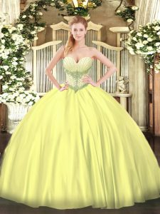 Glamorous Ball Gowns Quinceanera Dresses Yellow Sweetheart Satin Sleeveless Floor Length Lace Up