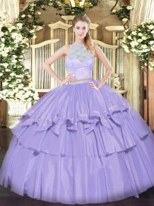 Custom Made Lavender Organza Zipper Scoop Sleeveless Floor Length Quinceanera Gowns Lace and Ruffled Layers