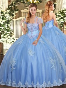 Light Blue Strapless Lace Up Beading and Appliques Quinceanera Gown Sleeveless