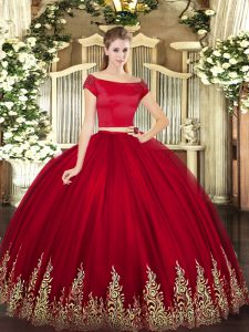 Modern Appliques Quinceanera Gown Wine Red Zipper Short Sleeves Floor Length