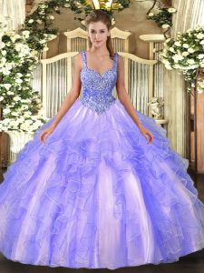 Classical Sleeveless Tulle Floor Length Lace Up Quinceanera Gown in Lavender with Beading and Ruffles