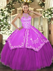 Elegant Floor Length Lace Up Ball Gown Prom Dress Fuchsia for Military Ball and Sweet 16 and Quinceanera with Beading and Embroidery