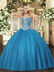 Floor Length Baby Blue Sweet 16 Dresses Sweetheart Sleeveless Lace Up