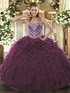 Beading and Ruffled Layers Quinceanera Gowns Burgundy Lace Up Sleeveless Floor Length