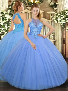 Light Blue Tulle Lace Up 15th Birthday Dress Sleeveless Floor Length Beading