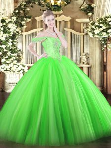 Floor Length Lace Up Quinceanera Gown Green for Military Ball and Sweet 16 and Quinceanera with Beading
