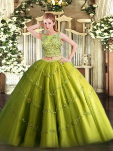 Exquisite Scoop Sleeveless Sweet 16 Dress Floor Length Beading and Appliques Olive Green Tulle