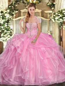 Elegant Sleeveless Floor Length Appliques and Ruffles Lace Up 15th Birthday Dress with Rose Pink