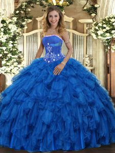 Vintage Royal Blue Sleeveless Beading and Ruffles Floor Length Ball Gown Prom Dress