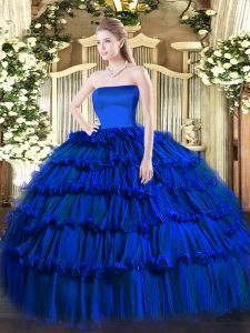 High End Floor Length Ball Gowns Sleeveless Royal Blue Quinceanera Gowns Zipper