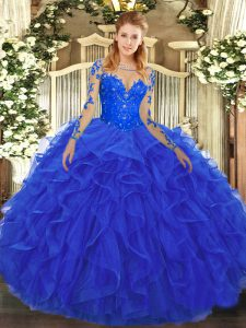 Traditional Long Sleeves Lace Up Floor Length Lace and Ruffles Ball Gown Prom Dress