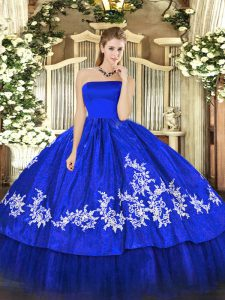 Elegant Royal Blue Organza and Taffeta Zipper Strapless Sleeveless Floor Length Sweet 16 Dress Embroidery