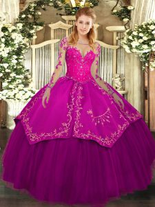 Custom Made Fuchsia Scoop Neckline Lace and Embroidery Sweet 16 Dress Long Sleeves Lace Up