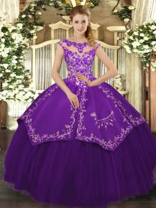 Purple Cap Sleeves Beading and Embroidery Floor Length Quinceanera Gown