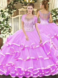 Luxurious Sleeveless Tulle Floor Length Clasp Handle Quinceanera Gown in Lilac with Beading and Ruffled Layers