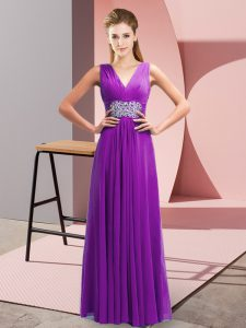 Eye-catching Purple Empire Chiffon V-neck Sleeveless Beading and Ruching Floor Length Side Zipper Evening Dress
