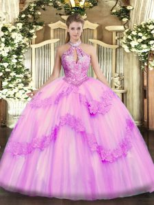 Classical Lilac 15th Birthday Dress Military Ball and Sweet 16 and Quinceanera with Appliques and Sequins Halter Top Sleeveless Lace Up