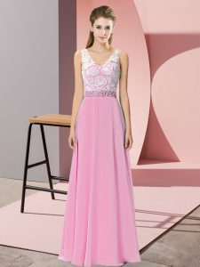 Floor Length Empire Sleeveless Rose Pink Evening Dress Backless