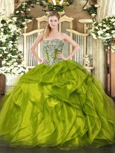 Fantastic Floor Length Olive Green Quinceanera Dress Strapless Sleeveless Lace Up