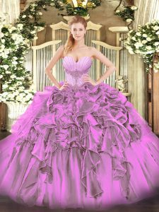 Traditional Sweetheart Sleeveless Sweet 16 Dress Floor Length Beading and Ruffles Lilac Organza