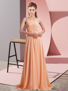 Glittering Orange Chiffon Criss Cross Homecoming Dress Sleeveless Sweep Train Ruching