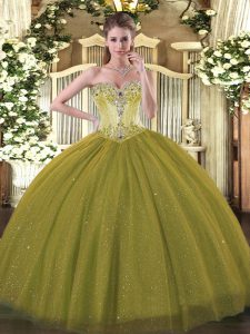 Simple Olive Green Sweet 16 Quinceanera Dress Sweet 16 and Quinceanera with Beading Sweetheart Sleeveless Lace Up