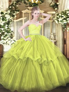 Best Sweetheart Sleeveless Tulle 15 Quinceanera Dress Beading and Lace and Ruffled Layers Brush Train Zipper