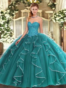 Colorful Teal Lace Up Sweetheart Beading and Ruffles Vestidos de Quinceanera Tulle Sleeveless