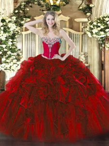 Decent Organza Sweetheart Sleeveless Lace Up Beading and Ruffles 15 Quinceanera Dress in Wine Red