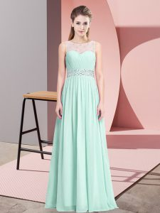 Lovely Empire Prom Evening Gown Apple Green Scoop Chiffon Sleeveless Floor Length Lace Up