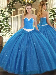 Sweetheart Sleeveless Tulle Quinceanera Dresses Appliques Lace Up
