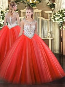 Fine Coral Red Zipper Ball Gown Prom Dress Beading Sleeveless Floor Length