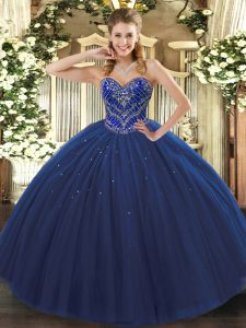 Admirable Navy Blue Sweetheart Neckline Beading Sweet 16 Dress Sleeveless Lace Up