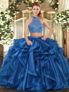 Blue Quinceanera Gown Military Ball and Sweet 16 and Quinceanera with Beading and Ruffled Layers Halter Top Sleeveless Criss Cross