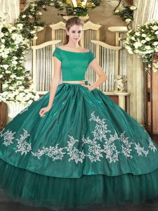 Exceptional Short Sleeves Embroidery Zipper Sweet 16 Dress
