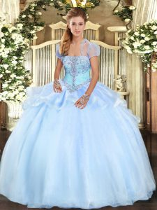 Great Organza Sleeveless Floor Length Sweet 16 Dress and Appliques