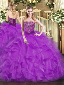 Classical Floor Length Ball Gowns Sleeveless Purple Quinceanera Dress Lace Up