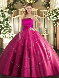 Clearance Tulle Strapless Sleeveless Lace Up Appliques Quince Ball Gowns in Hot Pink