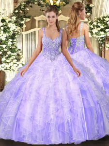 Straps Sleeveless Lace Up Ball Gown Prom Dress Lavender Tulle